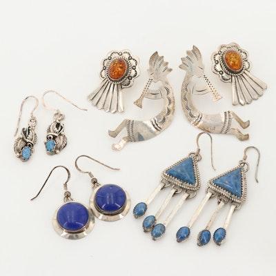 Southwestern Style Sterling Earrings Featuring Kokopelli, Lapis Lazuli and Amber