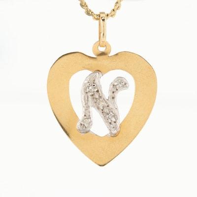 "14K Yellow and White Gold Diamond Heart Monogram ""N"" Pendant Necklace"
