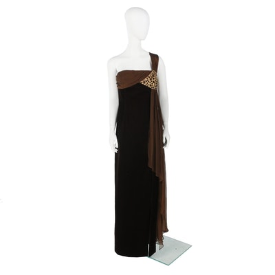 Escada Couture Velvet One-Shoulder Sequined Gown with Split and Chiffon Drape