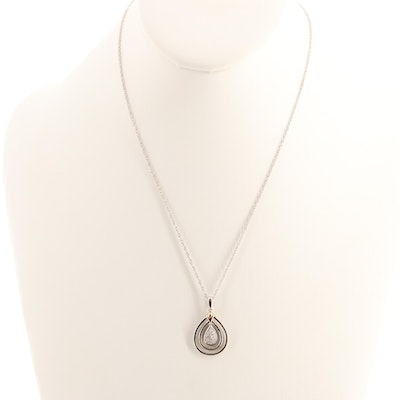 Sterling Silver Diamond Pendant Necklace with 14K Yellow Gold Accents