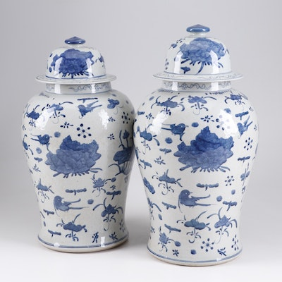 Chinese Blue and White Porcelain Ginger Jars, A Pair