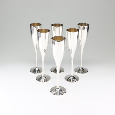Buccellati Stirling Silver Champagne Flutes with Vermeil Interior