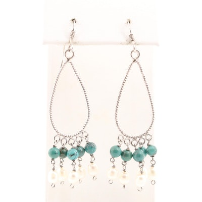 Sterling Silver Turquoise and Cultured Pearl Drop Style Earrings