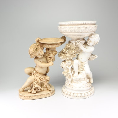 Neoclassical Style Cast Resin and Plaster Putto Pedestal Basins