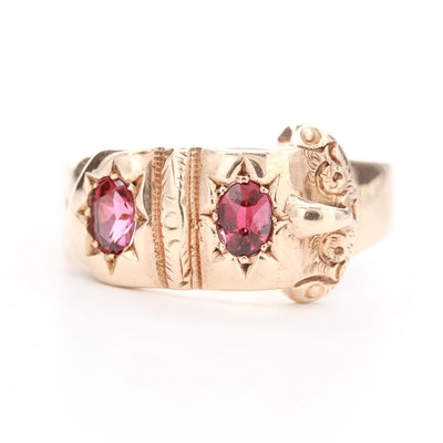 Victorian 10K Yellow Gold Garnet Buckle Ring