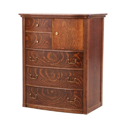 Colonial-Revival Oak Chest of Drawers, Early 20th Century