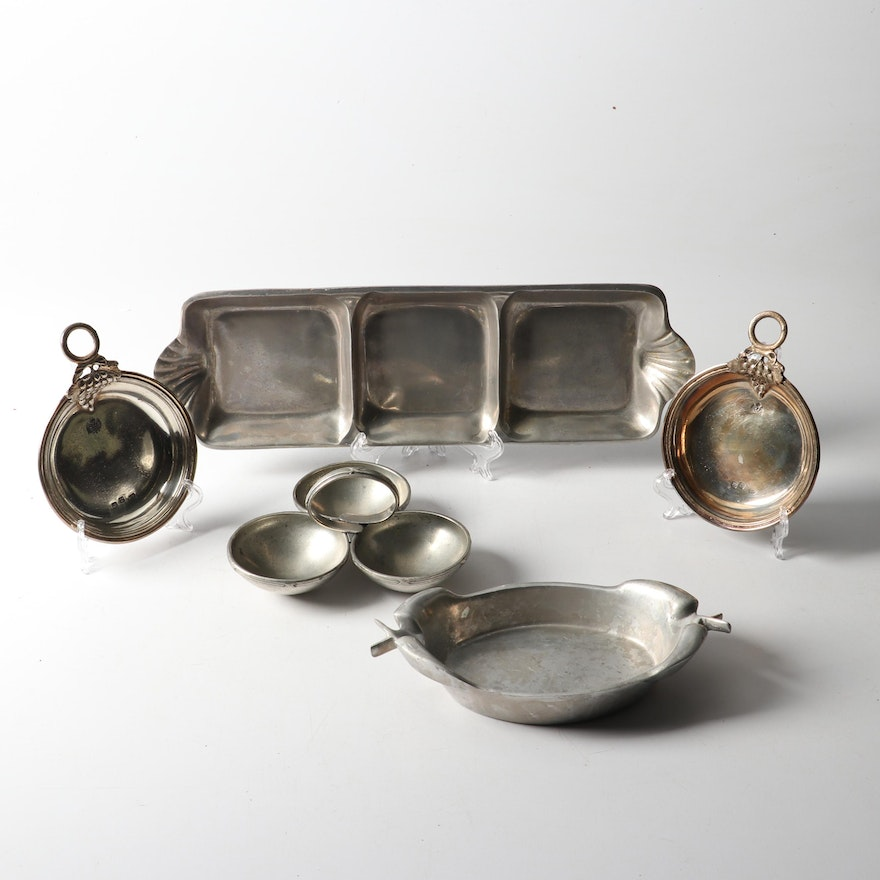 Pewter and Aluminum Hollowware Serving Dishes, Vintage
