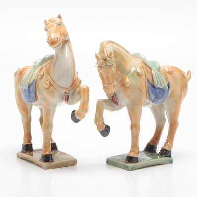 Chinese Tang Style Glazed Ceramic Horse Figurines