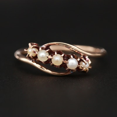 14K Yellow Gold Cultured Pearl Bypass Ring