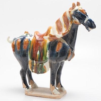 Chinese Tang Style Sancai Glazed Ceramic Horse