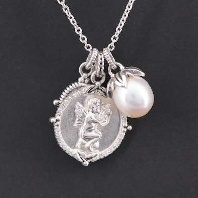 Sterling Charm Pendant Necklace with Quartz, Cultured Pearl and Cubic Zirconia