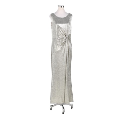 Calvin Klein Silver Metallic Sleeveless Gown with Gathered Twist Detail