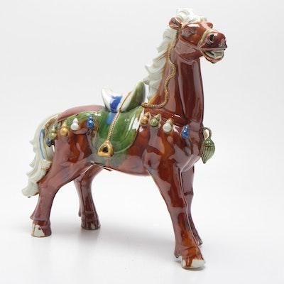 Chinese Tang Style Glazed Ceramic Horse