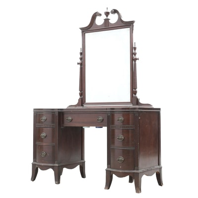 Vintage French Provincial Dixie Furniture Desk And Hutch