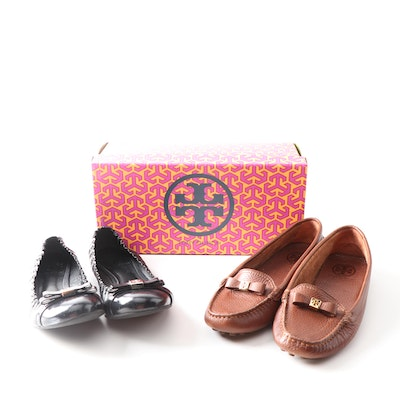 Tory Burch Romy Black Leather Ballet Flats Brown Pebbled Leather Driving Shoes