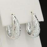Sterling Silver Diamond Oval Hoop Earrings