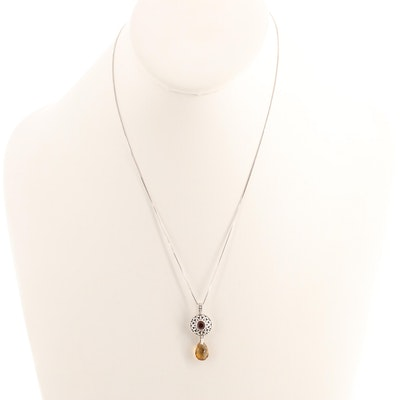 Sterling Silver Citrine and Garnet Pendant Necklace