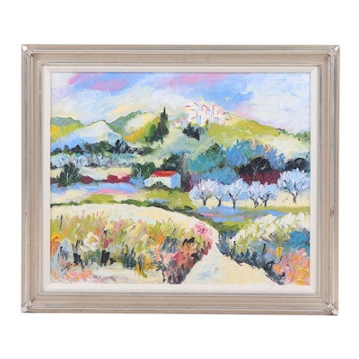 Late 20th Century Impressionist Style Landscape Oil Painting