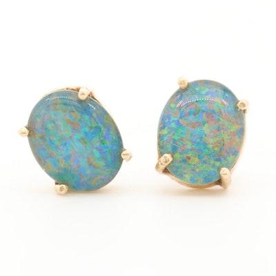 14K Yellow Gold Opal Triplet Button Earrings