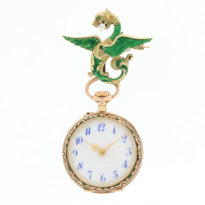 14K Gold With Green Enamel Diamond Dragon Pin and Pocket Watch Pendant
