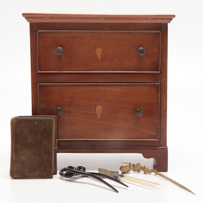 Miniature Salesman Sample Cherry Chest of Drawers and More, Circa 1840