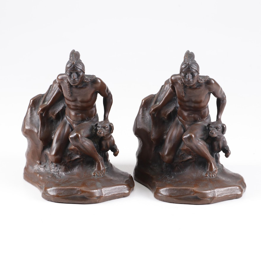 Jennings Brothers after C. Veith Cast Bronze Bookends, Early 20th Century