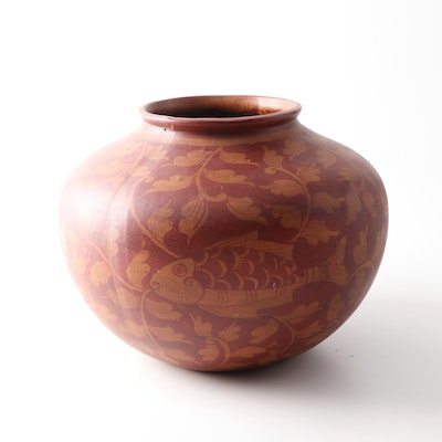 Asian Inspired Cast Earthenware Vase, Late 20th Century