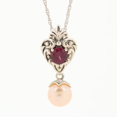 Sterling Silver Rhodolite Garnet and Cultured Pearl Enhancer Pendant Necklace
