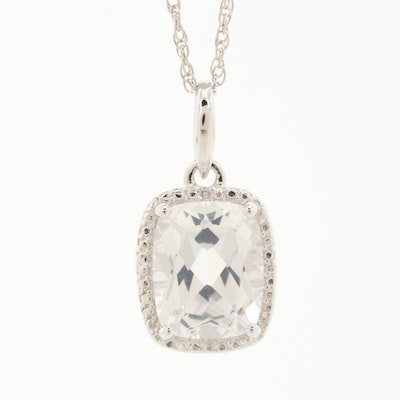 Sterling Silver Colorless Sapphire and Diamond Pendant Necklace