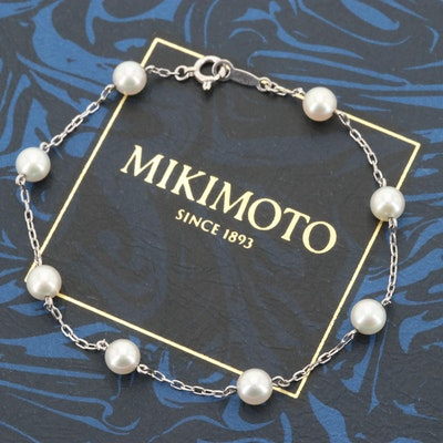 Mikimoto 18K White Gold Cultured Pearl Station Bracelet