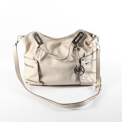 Michael Kors Satchel with Detachable Strap in Beige Grained Leather