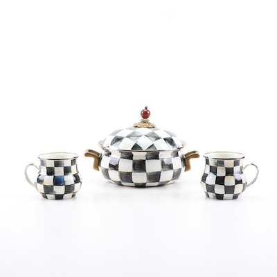 "MacKenzie-Childs ""Courtly Check"" Enameled Steel Tureen and Mugs"