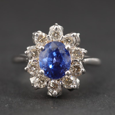 14K White Gold, 2.16 CT Blue Sapphire with Diamond Halo Ring