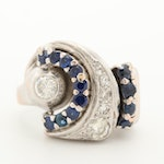 Retro 14K White Gold Diamond and Blue Sapphire Ring