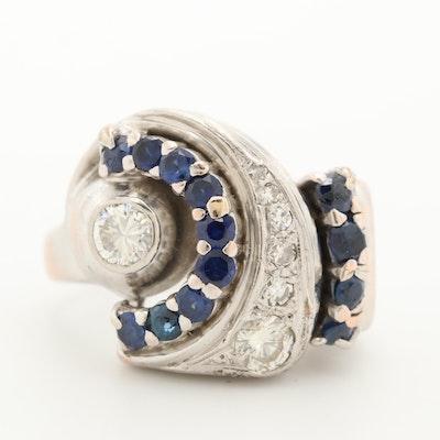 Retro 14K Gold Diamond and Blue Sapphire Ring