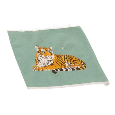 1.7' x 2'4 Needlepoint Tiger Tapestry