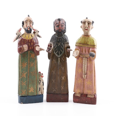 Hand Carved and Painted Wood Saint Figurines