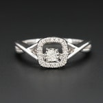 14K White Gold Diamond Ring with Articulated Floating Diamond