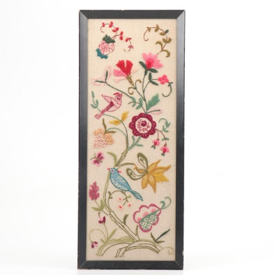 Handmade Embroidery with Bird and Floral Motif