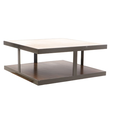 Calvin Klein Metal, Travertine and Mahogany Modernist Coffee Table, Contemporary