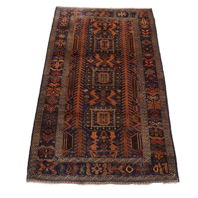 3'7 x 6'4 Hand-Knotted Persian Baluch Rug, circa 1960