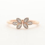 10K Rose Gold Diamond Floral Ring with Open Crown