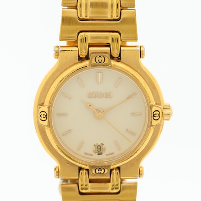 Gucci Gold Tone Stainless Steel Quartz Wristwatch With Date