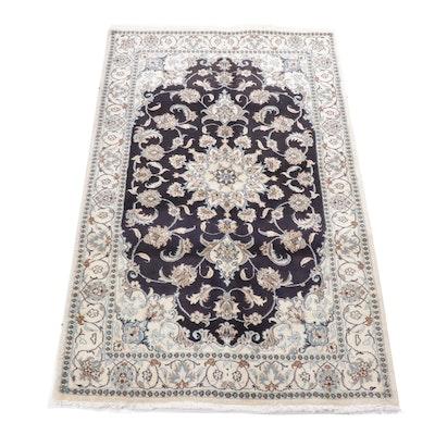 3'11 x 6'7 Hand-Knotted Persian Nain Silk Blend Rug, circa 1980