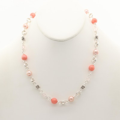 Michael Dawkins Sterling Coral, Rose Quartz and Cultured Pearl Necklace