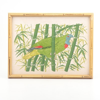 Screenprint on Linen Textile of a Parrot and Bamboo