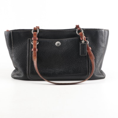 Coach Chelsea Black Pebbled Leather Shoulder Bag with Brown Leather Straps