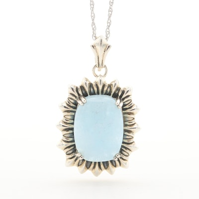 Sterling Silver Aquamarine Enhancer Pendant Necklace