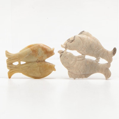 Chinese Carved Soapstone Fish Figurines