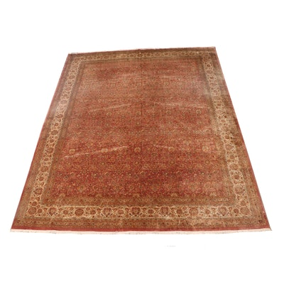 Hand-Knotted Pakistani Kashan Style Wool Room Sized Rug